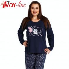 Pijama Dama Marimi Mari Maneca/Pantalon Lung, Love Blue, Vienetta, Cod 1483 - Pijamale dama, Marime: XL, XXL, XXXL, Culoare: Albastru