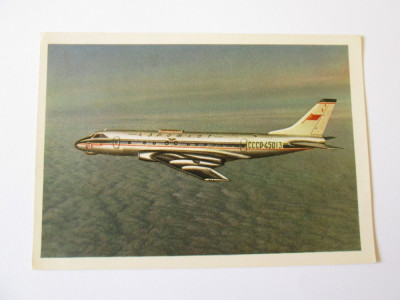 Avion pasageri TU-124,carte postala necirculata Aeroflot din anii 50 foto