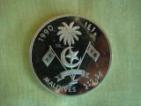 MALDIVE -  250 rufiyaa 1990 Argint 925, Asia