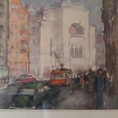Cumpara ieftin Tablou scoala romaneasca TIMISOARA centru opera pictor TIBERIU BONA anii 70