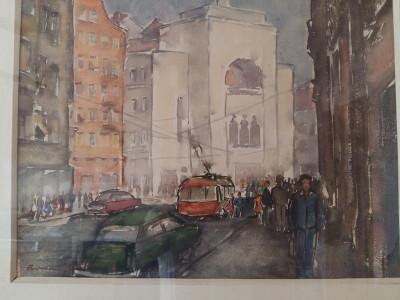 Tablou scoala romaneasca TIMISOARA centru opera pictor TIBERIU BONA anii 70 foto