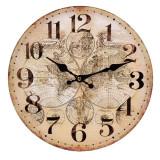 Ceas de perete, 30 cm, model harta lumii