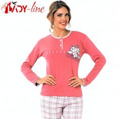 Pijama Dama Maneca/Pantalon Lung, I'm So Happy, Fawn Collection, Cod 1489 - Pijamale dama, Marime: S, M, L, XL, Culoare: Roz