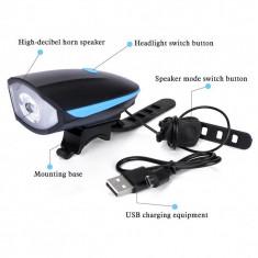Lanterna reincarcabila 2in1 cu LED si alarma pentru bicicleta - Accesoriu Bicicleta