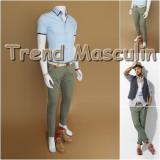 Pantaloni Barbati Chino Office Slim Casual Fashion Eleganti Gri Verzui