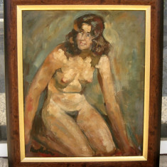 Nud semnat tablou anii 60 pictat in ulei inramat 57x67cm - Pictor strain, Realism