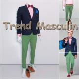 Pantaloni Barbati Chino Office Slim Casual Fashion Eleganti Verzi