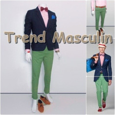 Pantaloni Barbati Chino Office Slim Casual Fashion Eleganti Verzi, Verde