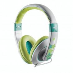 Casti audio Trust Sonin pentru copii, 3.5 mm Jack, Gri/Verde - Casca PC
