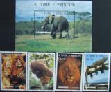 S TOME E PRINCIPE - FAUNA (TIGRU,ELEFANT...),1996, 4 V + 1 S/S, NEOB. - STP 17