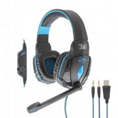 Casti gaming T'nB Elite Falcon , PC , PlayStation 4 , Negru/Ablastru, Casti cu microfon, Tnb