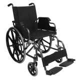 Fotoliu rulant din otel cu brate rabatabile si suporti picioare detasabili - Scaun cu rotile