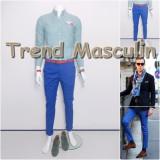 Pantaloni Barbati Chino Office Slim Casual Fashion Eleganti Albastri, Albastru