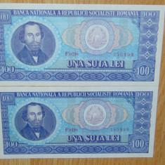 LOT 2 BANCNOTE 100 LEI 1966 SERII CONSECUTIVE AUNC +++ - Bancnota romaneasca