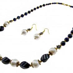 Set pietre naturale lapis lazuli si perle de cultura - Set bijuterii handmade si fashion