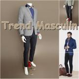Pantaloni Barbati Chino Office Slim Casual Fashion Eleganti Negri, Negru