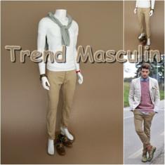 Pantaloni Barbati Chino Office Slim Casual Fashion Eleganti Bej