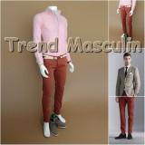 Pantaloni Barbati Chino Office Slim Casual Fashion Eleganti Maro Maroniu