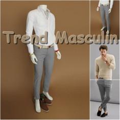 Pantaloni Barbati Chino Office Slim Casual Fashion Eleganti Gri