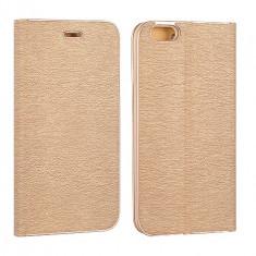 Husa Samsung Galaxy S7 Edge Flip Case Inchidere Magnetica Gold - Husa Telefon Samsung, Auriu, Piele Ecologica, Cu clapeta, Toc