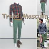 Pantaloni Barbati Chino Office Slim Casual Fashion Eleganti Verzi Verzui, Crem
