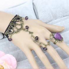 Bratara dantela cu inel  model gotic-victorian/ bratara mireasa