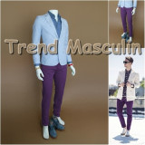 Pantaloni Barbati Chino Office Slim Casual Fashion Eleganti Mov, Maro
