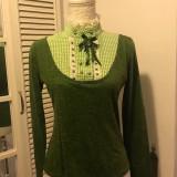 Bluza dama 2 in 1 LOVE, mas. S/M, Culoare: Verde, Maneca lunga