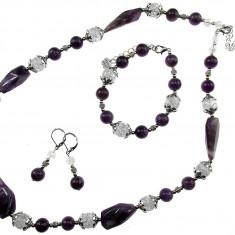 Set unicat ametist si cuart de stanca - Set bijuterii handmade si fashion