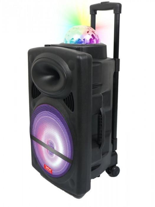 LICHIDARE STOC!BOXA ACTIVA TROLER,MIXER,MP3 PLAYER USB,BLUETOOTH,MICROFON,LUMINI