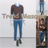 Pantaloni Barbati Chino Office Slim Casual Fashion Eleganti Albastri Deschisi