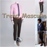 Pantaloni Barbati Chino Office Slim Casual Fashion Eleganti Maro Inchis