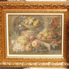 Natura statica cu fructe semnat datat 1898 pictat in ulei inramat 51x61cm - Pictor strain, Realism