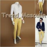 Pantaloni Barbati Chino Office Slim Casual Fashion Eleganti Galbeni, Galben