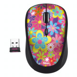 Mouse wireless Trust Yvi , USB micro receiver , Optic , 1600 DPI , Flower Power, Optica, 1000-2000