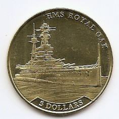 Nauru 5 Dollars 2016 - Elizabeth II (HMS Royal Oak) 35.5 mm KM-New UNC !!!, Australia si Oceania