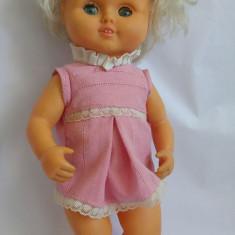 Papusa Aradeanca, cauciuc, cu rochita originala, 30cm, anii '80,
