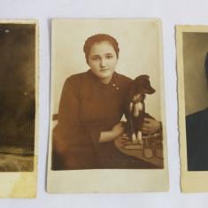 (T) 3 fotografii vechi alb-negru, sepia, fotograf Tamas Bethlen, portret femeie - Fotografie, Portrete, Europa