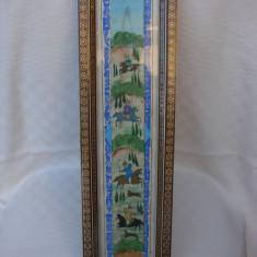 Frumoasa pictura persana incadrata intr-o rama frumoasa cu intarsii - Pictor strain, Scene lupta, Tempera, Realism
