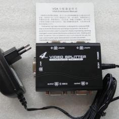 VGA splitter, 250MHz, 1 Input, 4 Output, negru