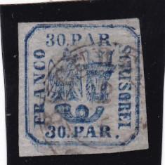 1862 LP 10 PRINCIPATELE UNITE EMISIUNEA I-30 PAR. H. VARGATA POINCON L. PASCANU - Timbre Romania, Stampilat