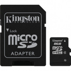 Card de memorie Kingston microSDHC 8GB, Class 4 + Adaptor - Card memorie