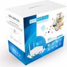 Kit complet 4 camere supraveghere wireless WIFI HD IP+NVR+surse - Sistem DVR