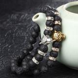 Bratara cu Perle si Charm Leopard Auriu