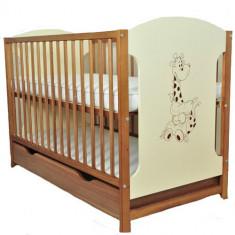Patut din Lemn Giraffe Natur - Patut lemn pentru bebelusi