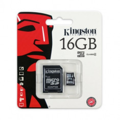 Card de memorie Kingston microSDHC 16GB, Class 4 + Adaptor - Card memorie