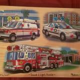 Melissa & Doug Puzzle masini cu sunete