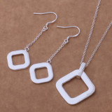 Set bijuterii placat argint 925 cercei si pandantiv square