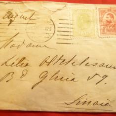 Plic cu francatura mixta 5 bani Spic de Grau si 10 Bani Gravate rosu 1908