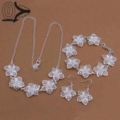 Set bijuterii mireasa placat argint 925 bratara colier cercei curier gratuit - Set bijuterii argint